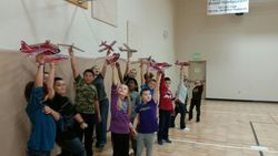 Students with their airplanes