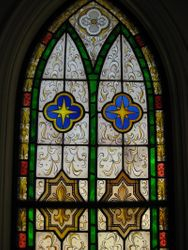 Stained glass, top half
