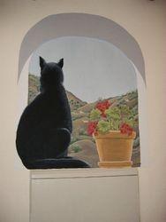 Gato Negro y Geranios