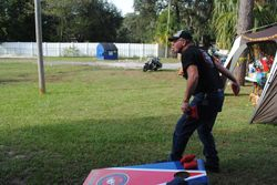 A friendly game of corn hole