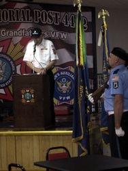 Junior Vice Commander John Ahern addresses audience.