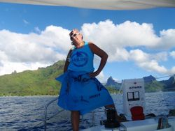 Ruth striking a stand when arriving in Moorea