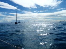 Ralley start for sailing from Pepeete to Moorea