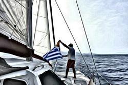 Artistic Mark raising the Greek flag