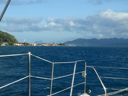 Raiatea town with Bora Bora behind it