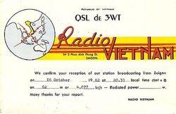 QSL- 1962: DE3WT Radio Vietnam, Saigon.