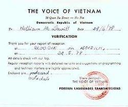QSL : The Voice of Vietnam 1978