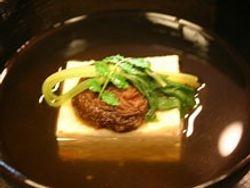 Tofu with fuki (spring vegetable) and shiitake