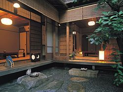 The beautiful Japanese garden, located in the middle of the structure