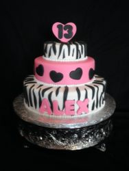 Hot Pink & Zebra Birthday Cake