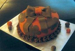 Orange & Brown Bow Birthday Cake