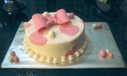 White & Pink Hearts Birthday Cake