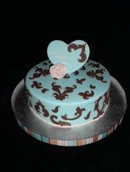 Tiffany Blue & Brown Damask Birthday Cake
