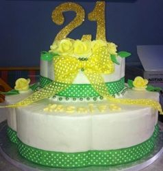 Green and Yellow Themed 21st Cake