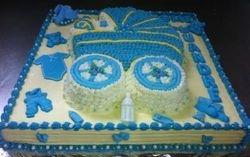 Pram cake-cut-out on sheet cake