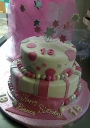 Pink and white 2tier cake