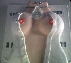 Torso cake with white shirt