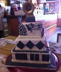 Grammy Award Birthday cake with fondant grammy topper