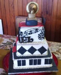 Grammy Award Cake -Black, red and white