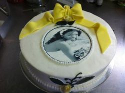 Birthday Cake- with yellow fondant ribbon