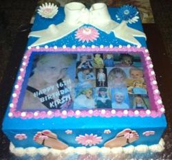 Sweet 16 Sheetcake with fondant decor and edible print
