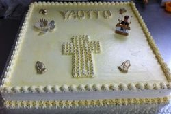 Confirmation themed sheet cake
