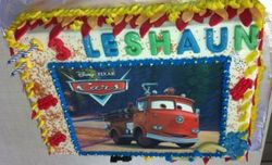 Fire-engine picture cake