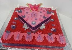 2tier Cerise buttericing cake with butterflies