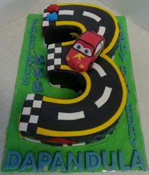 Nr 3 themed cake with cars