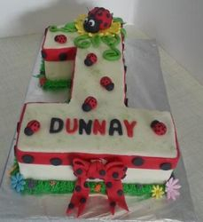 Nr 1 themed cake with ladybirds
