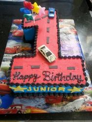 Nr 1 themed cake with small cars