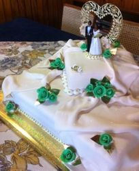 2 Tier wedding cake with green fondant roses