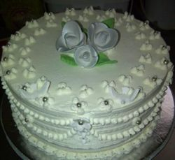 Blackforest wedding cake with silver fondant roses