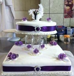 Purple 2 tier wedding cake