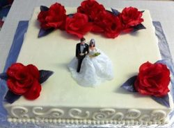 Sheetcake for wedding with silk roses