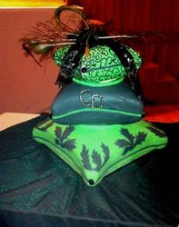 Green and Black Pillow cake