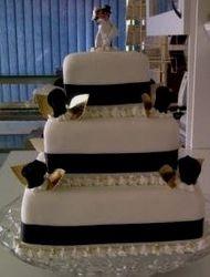 3tier mini wedding cake with black ribbon