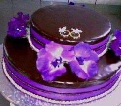 2tier Sacher torte wedding cake