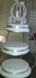 3 tier wedding cake with  silver