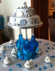 2tier wedding cake silver and white