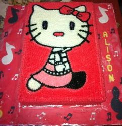 Hello Kitty with Cerise Butter Icing
