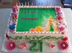 21st Birthday CakeTinkerbell  with flowers
