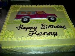 Sheet cake with fondant truck