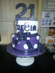 21st Birthday cake -purple and white dots