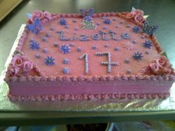 Pink Sheetcake for 17th Birthday