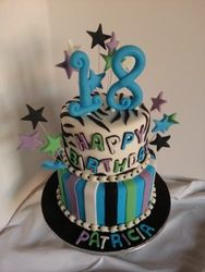 18th Birthday cake with stripes and stars