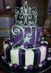 Two Tier Purple and Black with Fondant Tiara