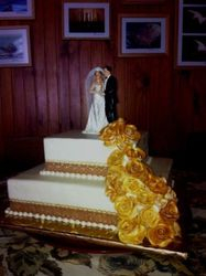 Two tier Gold and Bronze with Roses