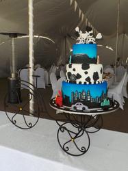 Skyline themed wedding cake