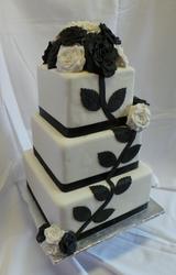 Black and white three tier wedding cake